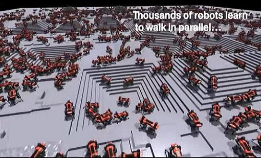 英伟达利用虚拟障碍快速训练机器人走路,场面相当壮观-最极客